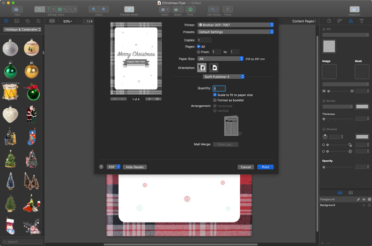 Exporting Christmas flyer created in Swift Publisher for Mac