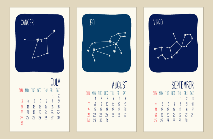 Calendar with zodiac signs