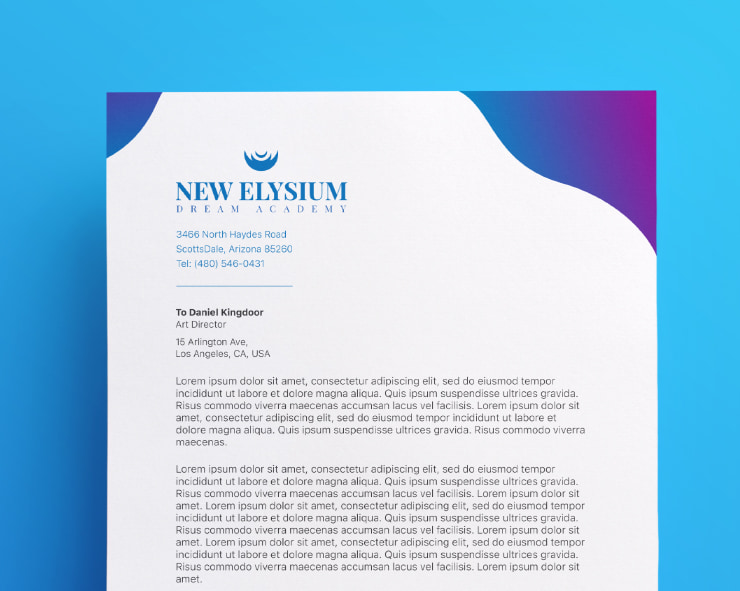 Example of letterhead layout