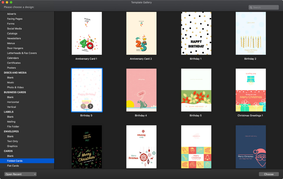 Swift Publisher for Mac greeting cards templates