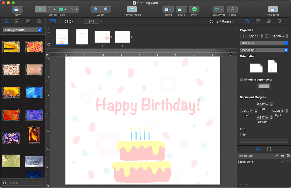 Swift Publisher for Mac birthday greeting card