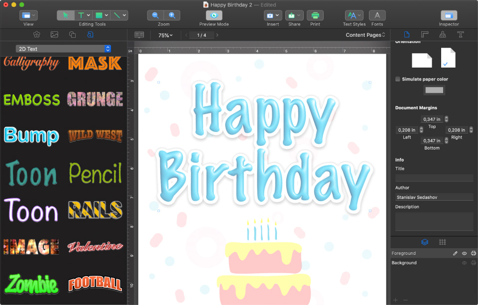 Swift Publisher for Mac birthday greeting card with artistic headings