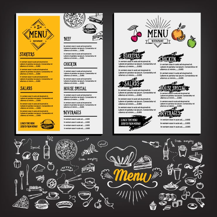 Different menu designs