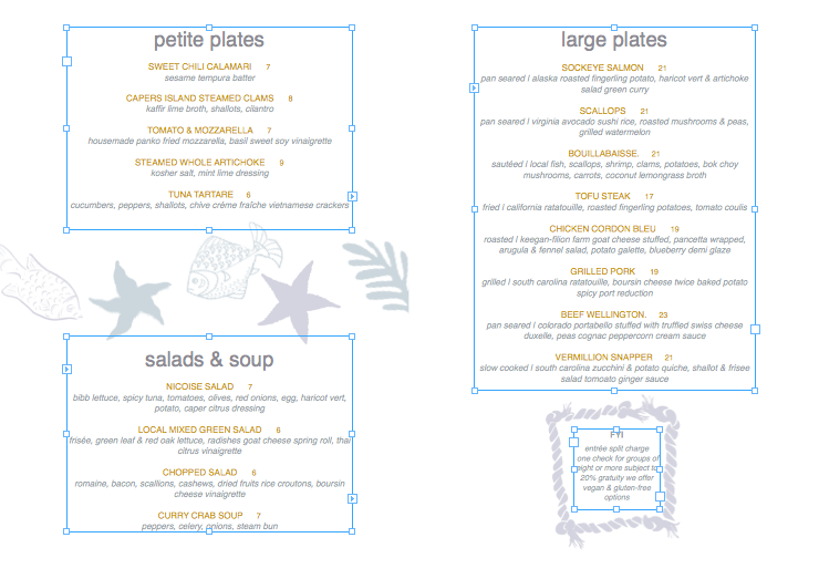 Restaurant menu with text boxes
