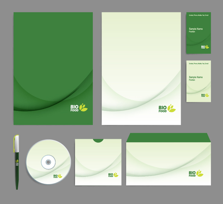 Green color eco set for your business