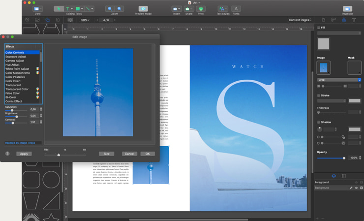 Desktop publishing program interface