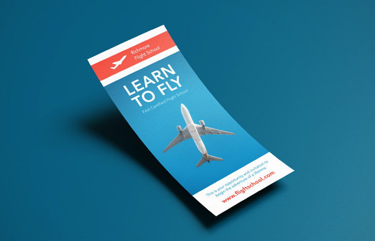 Aviation school rack card created in Swift Publisher for Mac