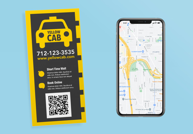 Taxi rack card created in Swift Publisher for Mac