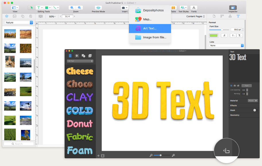 Art Text integration in Swift Publisher for Mac