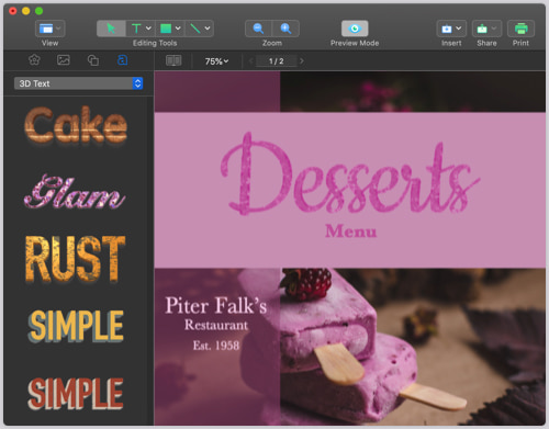 Desserts menu layout template created in Swift Publisher for Mac