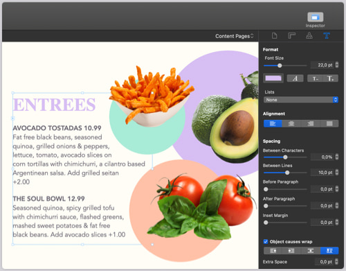 Food menu card with entrees designed in Swift Publisher for Mac