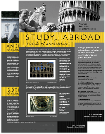 Newsletter on studying abroad created in Swift Publisher